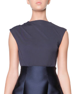 Giorgio Armani Cap-Sleeve Shoulder-Ruched Jersey Top, Midnight
