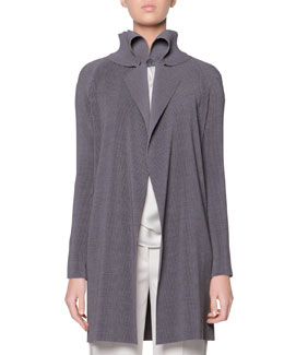 Giorgio Armani Plisse Exaggerated Lapel Jacket, Gray