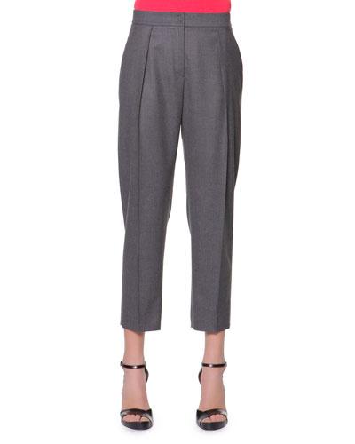Giorgio Armani Micro Pleat Flannel Gabardine Ankle Pants, Charcoal
