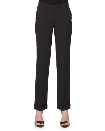 Stretch Wool Cuffed Straight-Leg Pants, Black