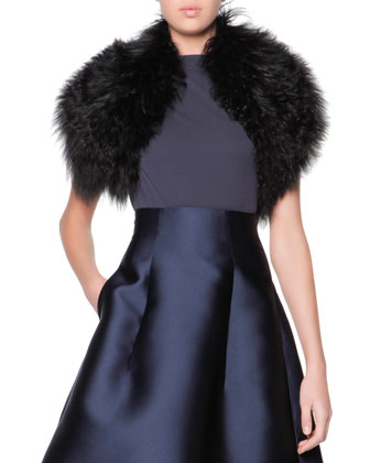 Giorgio Armani Giorgio Armani Curly Lamb Shearling Fur Collar, Black