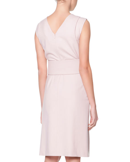 Ruched-Shoulder Wide-Belted Sheath Dress, Rose