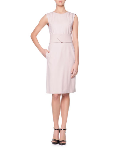 Giorgio Armani Ruched-Shoulder Wide-Belted Sheath Dress, Rose