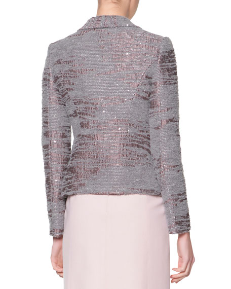 Sequined Boucle Shawl-Collar Jacket, Gray/Mauve