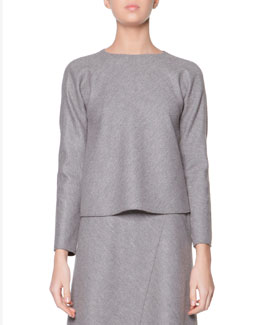 Giorgio Armani Long-Sleeve Stretch Jersey Top, Steel
