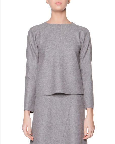 Long-Sleeve Stretch Jersey Top, Steel
