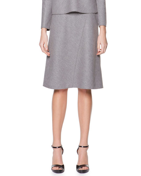 Bias-Seamed Jersey Skirt, Steel