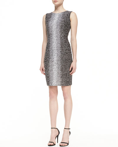 St. John Collection Ombre Eyelash Knit Jewel Neck Sheath Dress