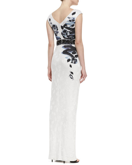 Rose Blossom Print Jacquard Knit Gown with Sequined Liquid Satin Waist Band