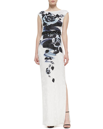 St. John Collection Rose Blossom Print Jacquard Knit Gown with Sequined Liquid Satin Waist Band