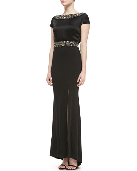 Shimmer Milano Knit Gown with Liquid Crepe Bodice, Front Slit & Paillette Trim