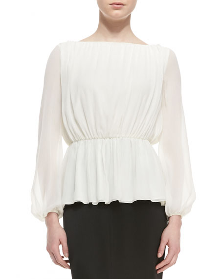 Stretch Silk Jewel Neck Elbow Length Sleeve Blouse with Front Pleats