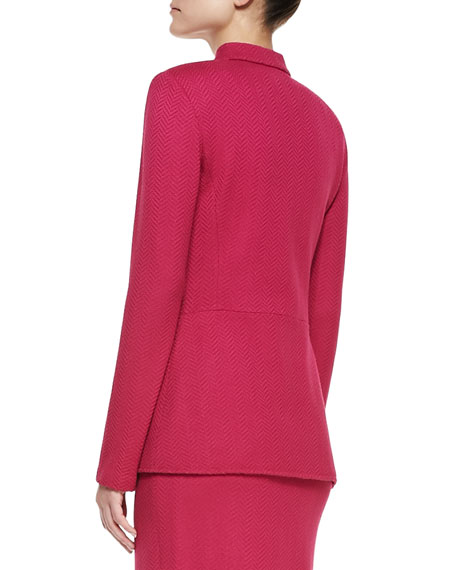Herringbone Sheen Knit Nehru Collar Jacket