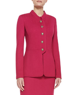 St. John Collection Herringbone Sheen Knit Nehru Collar Jacket