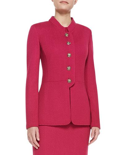 St. John Collection Herringbone Sheen Knit Nehru Collar Jacket