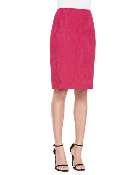 Herringbone Sheen Knit Pencil Skirt