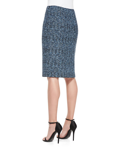 Shimmer Boucle Herringbone Tweed Knit Pencil Skirt