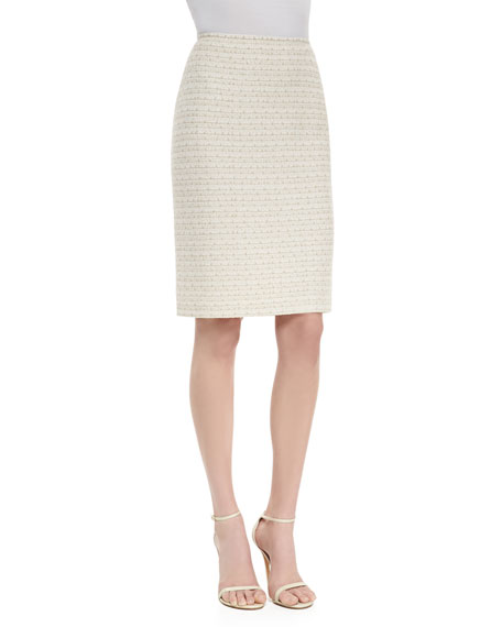 Mini Gilded Checked Knit Pencil Skirt- Lined