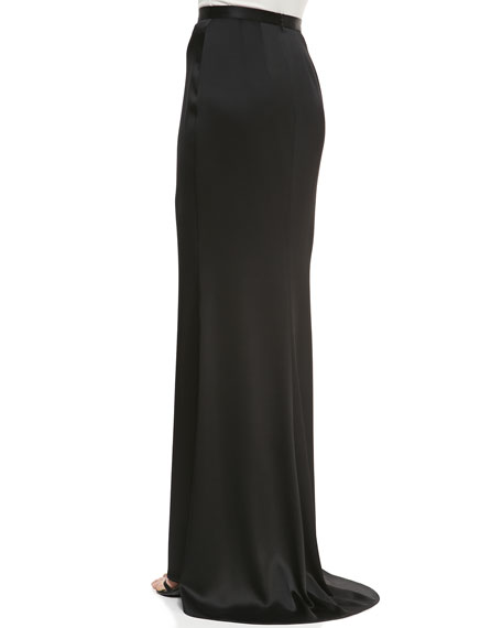 Liquid Satin Skirt Gown With Center Front Slit & Train
