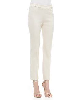 St. John Collection Stretch Milano Knit Cropped Pant with Front and Back Pintucks