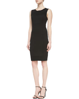 St. John Collection Milano Pique Knit Dress With Crepe Marocain Panels