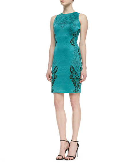 Floral Cascade Jacquard Knit Sheath Dress with Cut-In Shoulders