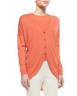 St. John Collection Fine Gauge Silk/Cashmere Blend V-Neck Trapeze Cardigan with Shirttail