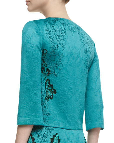 Floral Cascade Jacquard Knit Jewel Neck Jacket