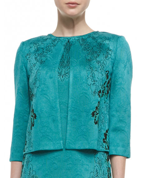 Floral Cascade Jacquard Knit Jewel Neck Jacket
