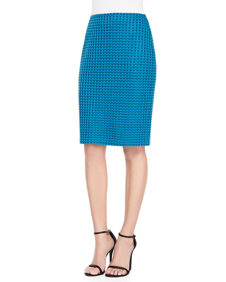 Damier Tweed Knit Pencil Skirt