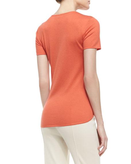 Fine Gauge Silk/Cashmere Blend Jewel Neck Short Sleeve Shirt with Shirttail