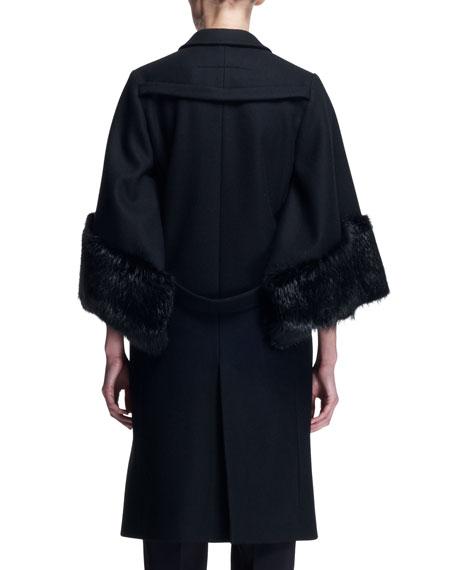 3/4-Sleeve Fur-Cuff Coat