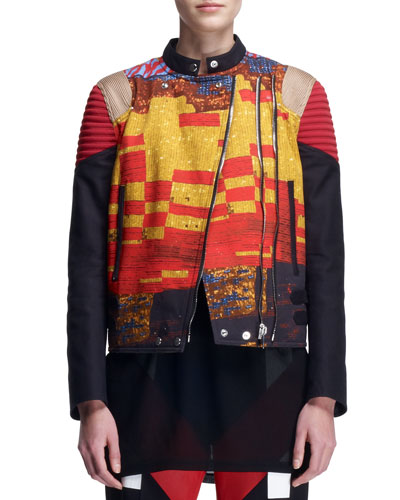 Givenchy Mosaic Double-Zip Moto Jacket