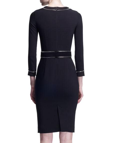 3/4-Sleeve Zipper-Trim Dress