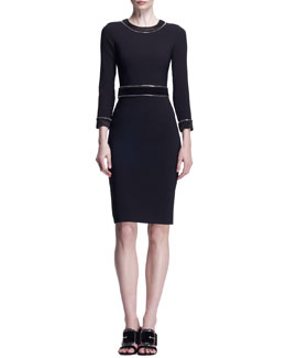 Givenchy 3/4-Sleeve Zipper-Trim Dress
