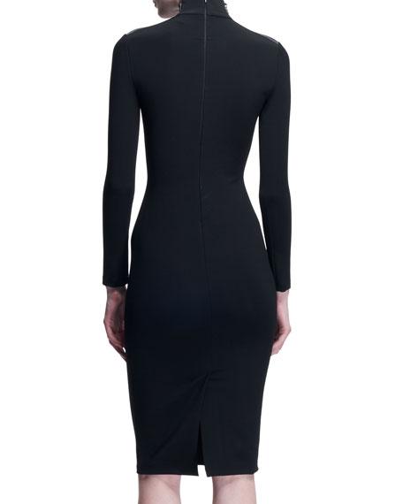 Fitted Zip-Shoulder Dress