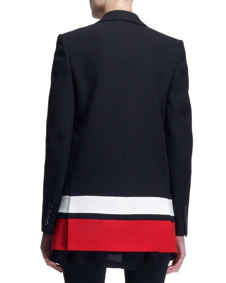 Striped-Border Boyfriend Jacket