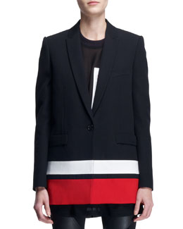 Givenchy Striped-Border Boyfriend Jacket