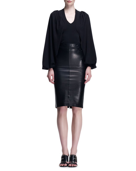 Leather Zip-Back Godet Skirt