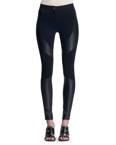 Leather-Paneled Punto Milano Leggings