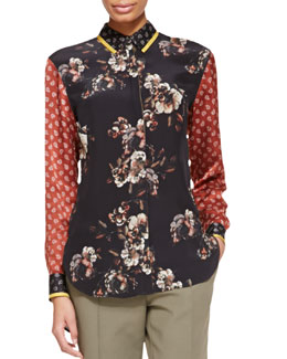 Jason Wu Long-Sleeve Floral/Paisley Silk Blouse, Black/Red/Multi