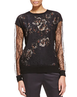 Jason Wu Long-Sleeve Lace Sweater with Floral Undershirt