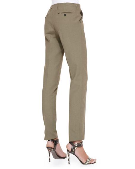 Cotton-Blend Twill Pants, Dark Olive