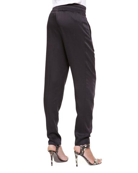 Drawstring Slim Jogging Pants, Black