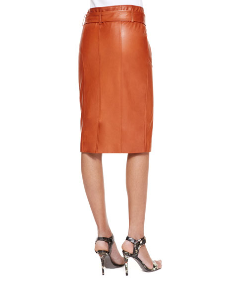 Moto Leather Pencil Skirt, Rust