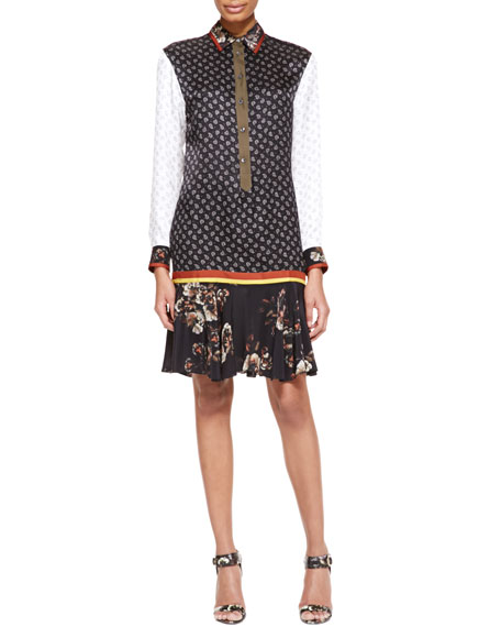 Long-Sleeve Printed Tunic Dress