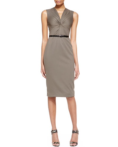 Jason Wu Sleeveless Ponte Jersey Twist Sheath Dress with Belt, Dark Olive