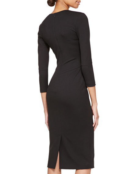 3/4-Sleeve Dress with Jersey Bodice, Black/Multi
