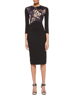 Jason Wu 3/4-Sleeve Dress with Jersey Bodice, Black/Multi