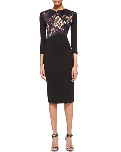 Jason Wu 3/4-Sleeve Dress with Jersey Bodice, Black/Multi